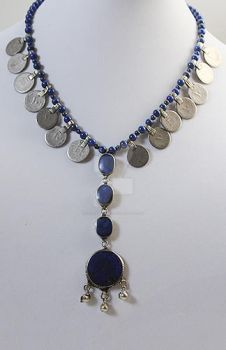 Lapis and Coin Drop Necklace 1 by Skyewalker27