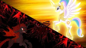 Request: Princess Amanita Versus Princess Celestia by Macgrubor