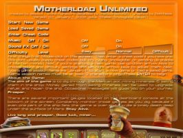 Splash (Start) page for Motherload Unlimited by sethness