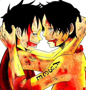 Luffy and Ace by madziulkabr