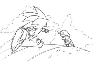 Sonic vs Mario::SSB sketch by Mast3r-sword