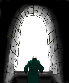 Green Monk at Window by DarthAsparagus