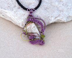 Crazy Lace agate wire wrapped pendant -ooak by IanirasArtifacts