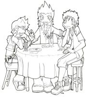 Trio coffee - lineart by kit-kat201