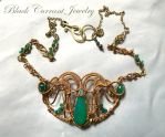 Green Onyx and Brass Art Nouveau Necklace by blackcurrantjewelry