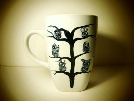 Owl Tree - Handpainted mug (for sale) by InkyDreamz