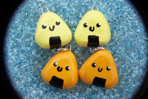 Orange and yellow onigiri earrings by Shelby-JoJewelry