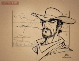 Inktober-#09-Cowboy by Chadwick-J-Coleman