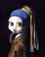 Rabbit with the Pearl Earring by hammystar