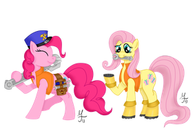 Pinkie Pie and Fluttershy as Engineers by Salahir