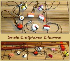 Sushi Cellphone Charms by YellerCrakka