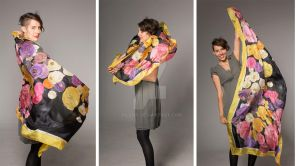 Hand painted silk scarf- Falling Ranunculus by pilemy
