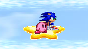 Request - Sonic and Kirby on Warpstar by KingAsylus91