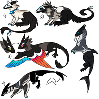 Rabbit-Dragon Adopt (Black) CLOSED by Cali-Adopts