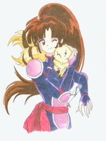 Sango and Kirara by Saerinne