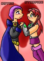 Raven and Starfire for Rinacat by Bat-chan