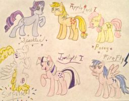The Original Mane 6 (in color) by BravoKrofski