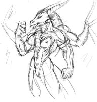 Varona - Dragoness - Sketch by HopeyWolf