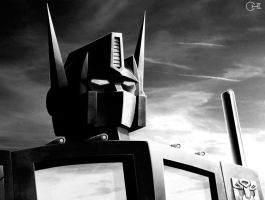 Optimus Prime Black and White by cwmodels