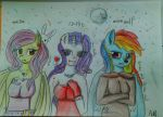 Flutterbat Miss Rarity and Rainbow Dash by AdelsImages