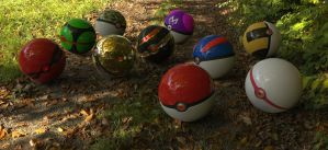Pokeballs in the Woods by BlazingEclipse8