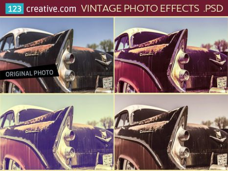 Vintage photo effects PSD by 123creative