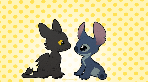 Stitch and Toothless by Kitchiki
