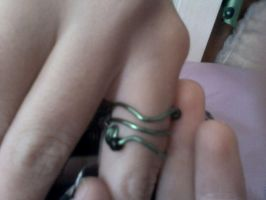 Green Wire wrapped Ring by EllasDesigns