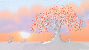 Rabbit Sunset Winter/Autumn Tree by AwakeNight