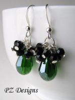 Green and Jet Cluster Earrings by PurlyZig
