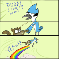 Rigby grab my arm by Electric-Mongoose