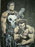Punisher and Wolverine by freaky7styley