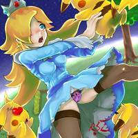 Pikachu attacks Rosalina ! by KunichuuWaa