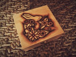 Floral Bunny Pyrography/Woodburning by KenazArt