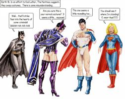 Superman/Power Girl, Batman/Batgirl switcheroo by Nick-Perks