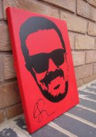 Ricky Gervais - Spraypaint Stencil on Canvas by RAMART79