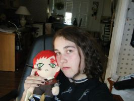 Me....with my Gaara plushie by gaveZexionmyHeart