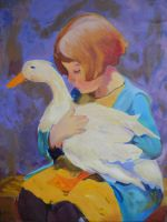 A Girl and Her Duck by chubby-manatee