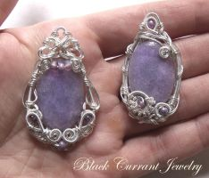 Couple of Purple Jade Pendants by blackcurrantjewelry
