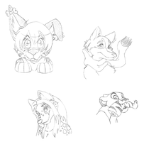 Furaffinity Icon Sketches - 2 of 2 by Cosmic-Castaway