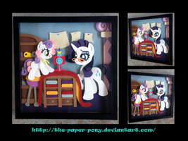 Contest Winner: Rarity and Sweetie Belle Shadowbox by The-Paper-Pony