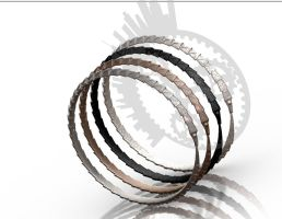 Carapace Bangle - Metal, Glass by improbablecog