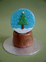 Holiday Snow Globe Cake by sparks1992