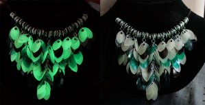 Green Bird of Paradise glowing scale necklace by Ichi-Black