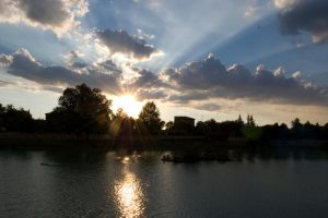 City lake sunset by unlink