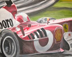 Ferrari F1 car at speed by jameslopez