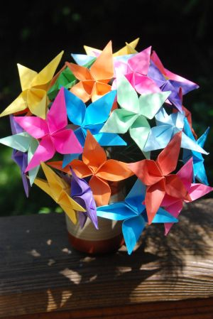 Rainbow Origami Radiance Flowers-In the Shade by lisadeng