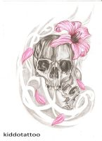 skulls and lilly by Kiddotattoo