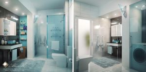 Modern apartment master  bath by kasrawy