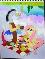 Fluttershy and Discord Have a Picnic by ClayInTheCarpet